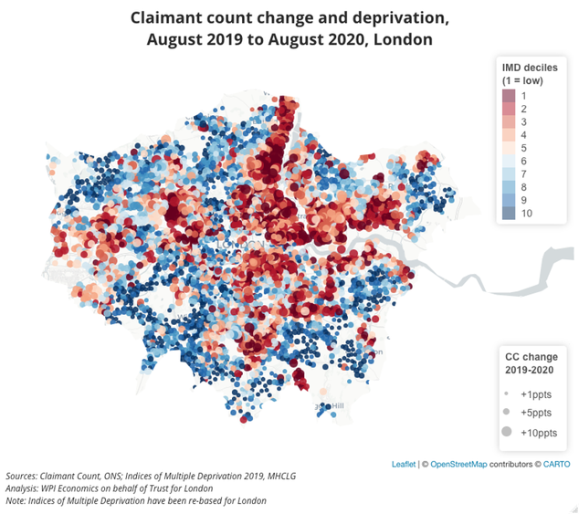 Claimant count change and deprivation map for London