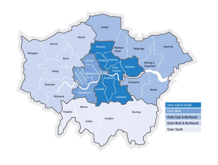 Map of London's sub-regions
