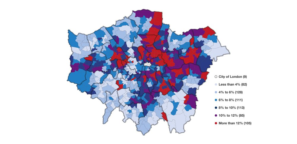 Show Map Of London.Out Of Work Benefits Map Trust For London