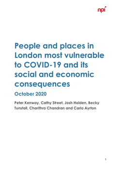People and places in London most vulnerable to Covid-19 report cover
